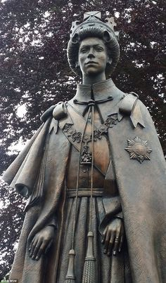 Commemorative: This four-metre high bronze statue of the Queen was today unveiled to mark ...