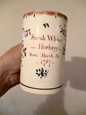 Rare Pottery Christening Mug 1778 Sarah White Horbrey Born March 1787 in Pottery, Porcelain & Glass, Date-Lined Ceramics, Pillar Candles, Candle Jars, Coffee Cups, Tea Cups, Childrens Mugs, Sarah White, English Pottery, American Art, Early American