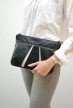 Smooth black leather bag, gold, grey and black white polka dot {woman pouch…