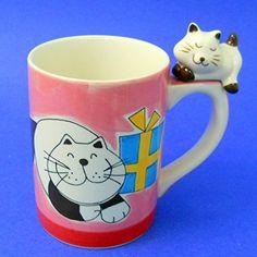 Indra Pink Coffee Mug Ceramic Black White Cat Blue Gift Package Cat on Handle Coffee Mugs Amazon, Pink Coffee Mugs, Cat Coffee Mug, Best Coffee Mugs, Tea Mugs, Coffee Cups, Mug Tree, Blue Gift, Cool Mugs