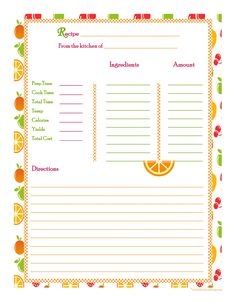 Orange Cherry Apple Background Recipe Card Full Page