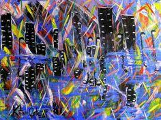 city nights  art by Katina Cote  acrylic on canvas  copyright