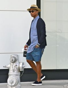 It might not be the red carpet but Pharrell Williams 50's style look did get our attention. Especially, the classic straw hat.