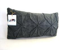 Grey felt pillow / geometric pillow / handmade / Japanese