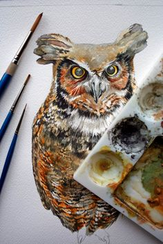 Owl Painting - Great Horned Owl Watercolor Painting - Original Watercolor - amazing