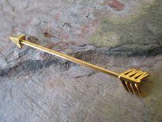 Gold Arrow Industrial Barbell Piercing Bar by BohemianBodyJewellry
