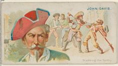 """John Davis, Stabbing the Sentry, from the """"Pirates of the Spanish Main"""" series (N19), for Allen & Ginter Brand Cigarettes, c1888."""