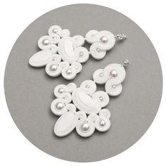 chandeliers weddings earrings white soutache jewelry pearls statement beaded