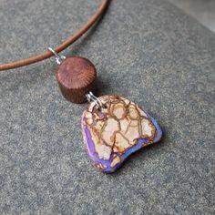 Boulder Opal & wood pendant necklace  by NaturesArtMelbourne, $56.56