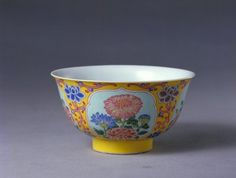 (Qing) Famille Rose. A Famille Rose Bowl. Qing dynasty, China. 黄地开光珐琅彩花卉纹碗. The Palace Museum