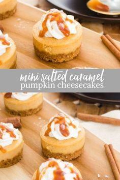 Mini Salted Caramel Pumpkin Cheesecakes are creamy mini pumpkin cheesecakes topped with salted caramel sauce and whipped cream! Mini Salted Caramel Pumpkin Cheesecakes are creamy mini pumpkin cheesecakes topped with salted caramel sauce and whipped cream! Köstliche Desserts, Dessert Recipes, Health Desserts, Breakfast Recipes, Mini Cheesecake Recipes, Pumpkin Cheesecake Cupcakes, Pumkin Cheese Cake, Cheese Cake Mini, Mini Pie Recipes