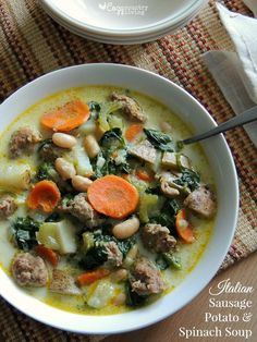 This easy Italian Sausage, Potato & Spinach Soup is a comforting, cozy meal that can be on the table in 30 minutes! Soup Recipes, Dinner Recipes, Cooking Recipes, Healthy Recipes, Dinner Ideas, Sausage Potatoes, Sausage Soup, Turkey Sausage, Recipes