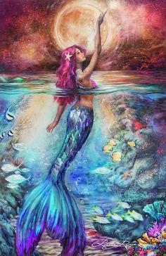 """""""Moonlit Siren"""" <br/> Paper Print"""