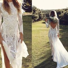 New arrival wedding dress,long sleeves lace backless wedding dress with open backs for chic beach bridal - Thumbnail 2