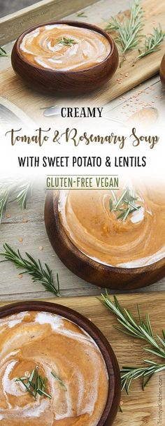 Rosemary & Tomato Soup with Sweet Potato & Lentils by Trinity #dairy-free #glutenfree #vegan