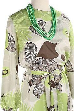 Vintage-60s-Mod-Hippie-Dress-w-Huge-Lime-Green-amp-Brown-Flowers-Sz-M-Hey-Viv