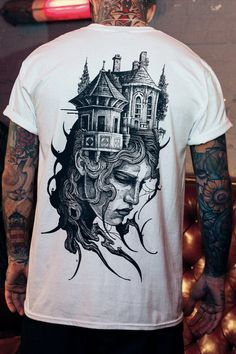 There is no need to be scared of ghosts with our Haunted House Tee.  This cursed Stay Cold shirt comes with front backprint.  It is inspired by horror movies and designed by tattoo artist f_bianco_art. Horror Movies, Tattoo Artists, Fashion Dresses, Tees, House, Inspiration, Horror Films, T Shirts, Biblical Inspiration