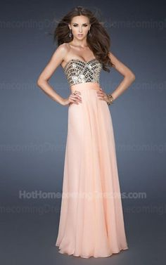 Size: Standard Size or Custom Made Size Closure: Side Zipper Details: Beaded Bust,Pleated Skirt Fabric: Chiffon  Length: Floor Length Neckline: Strapless Sweetheart  Waistline: Empire Waist Color: Apricot Tag: Apricot,Long,Sequin,Pleated,Strapless,Homecoming Dress