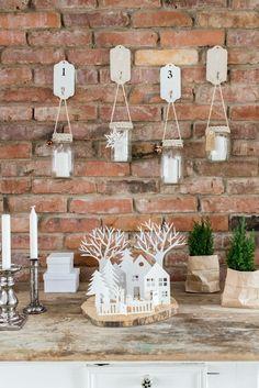 DIY Deko mit Adventskranz aus alten Einmachgläsern und Winterlandschaft aus Papier
