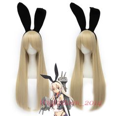 Anime Kantai collection  KanColle Shimakaze Long Straight Beige Cosplay Hair Wig #Aicos #FullWig