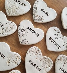 Personalised Ceramic Heart Favours by Charlotte Hupfield Ceramics Clay Christmas Decorations, Christmas Crafts, Polymer Clay Crafts, Diy Clay, Handmade Christmas Gifts, Handmade Gifts, Clay Keychain, Clay Ornaments, Air Dry Clay