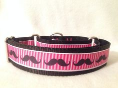Nylon w/Pink Moustache Ribbon Martingale or by DogCollarsByDesign, $14.75
