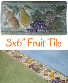 "Verde Fruit 3x6"" Listello $1.99/each Glazed ceramic listello with a mixed fruit design. Pear, grapes, pineapple, and oranges. Colors include teal, green, purple, and gold. Use it between your wall tiles as a decorative border. Wall use only. Actual dimensions: 3"" tall x 5-7/8"" wide x 3/8"" thick Need 100 or more? Contact us for bulk pricing. Wall Tiles, Backsplash Tile, Decorative Borders, Vintage Bathrooms, Mixed Fruit, Color Tile, Glazed Ceramic, Unique Colors, Shapes"