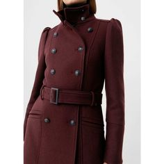 Puffed-Shoulder Wool Coat (3.960 RUB) ❤ liked on Polyvore featuring outerwear, coats, red double breasted coat, wool coats, woolen coat, red coat and quilted coat