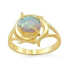 dolphin gifts | Dolphin Ring Opal 14k Yellow Gold | Gift Ideas