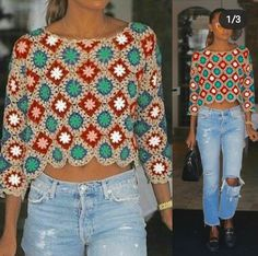 Blusa de croche square azul com vermelho Learn the rudiments of how to needlework (generic term), at Crochet Jumper, Crochet Cardigan Pattern, Granny Square Crochet Pattern, Basic Crochet Stitches, Crochet Blouse, Crochet Basics, Crochet Granny, Knit Crochet, Hippie Crochet