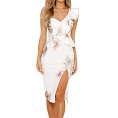 87d98364051c Women s Ruffle One Shoulder Split Midi Party Bodycon Dress V-Neck Floral  Printed Midi Dress