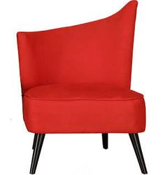 Flared Back Left Red Microfiber Accent Chair