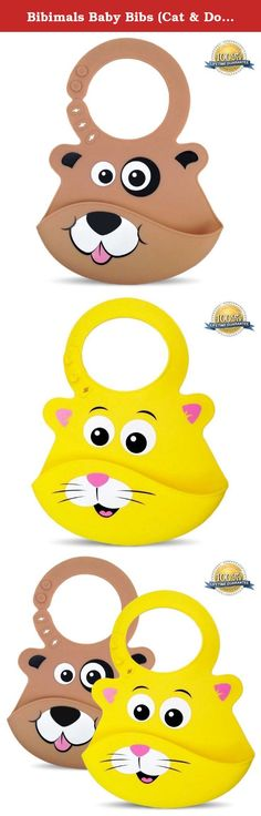 Bibimals Baby Bibs (Cat & Dog Pack) Button Latch Better for Long Hair - Funny Cool Cute 2 Pack of Bibs with Food Catcher Pocket Made From Waterproof Washable Silicone Plastic, Best for Use with Girl or Boy Infants and Babies - Your Baby Will Love These Silly Animal Face Bibs, Great Baby Shower Gift, Lifetime Guarantee - [Add These Bibs to Your Baby Registry Today]. Your baby will love to use these cute Animal Face Bibs (1 Cat & 1 Dog) Safeguard Your Kid's Clothing While Looking Cute and...