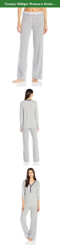 Tommy Hilfiger Women's Henley and Logo Pant Pj Set, Heather Grey/Heather Grey/Paisley Stripe, Small. Kick back in our most classic tommy pajama set with a cozy heather grey henley and adorable paisley stripe pants to match.