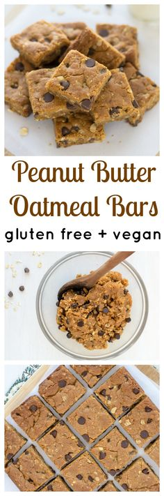 Flourless Peanut Butter Oatmeal Bars with Chocolate. Soft, chewy, and dangerously easy to make! (vegan and gluten free)
