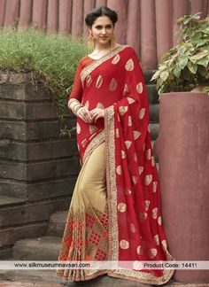 6dddda15597 An outstanding faux georgette half n half saree will make you look very  stylish and graceful. The beautiful kasab work