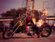 Custom chopper & Olga Rain by Serhii Smyk Motorbike Girl, Chopper Motorcycle, Biker Photoshoot, Bike Boots, Harley Bikes, Trucks And Girls, Biker Chic, Biker Girl, Biker Baby