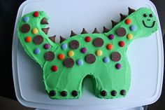 Dinosaur Birthday Cake. I had better try this way before hand and practice about 100 times more. I know this won't end up pretty lol