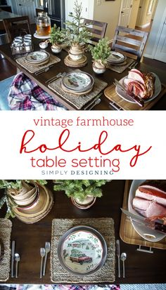 Vintage Farmhouse Holiday Table Setting - such a beautiful way to celebrate Christmas #ad @BHGLiveBetter @Walmart #BHGLiveBetter #Walmart