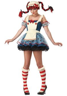 Teen Girl Rag Doll Costume Little girls love playing with rag dolls, but this Halloween girls can dress up as a teenage rag doll in a funky and fashionable o Halloween Diy Kostüm, Rag Doll Halloween Costume, Raggedy Ann Costume, Tween Halloween Costumes, Cute Costumes, Doll Costume, Adult Costumes, Costumes For Women, Costume Dress
