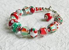 Italia Lampwork bracelet Glass beads bracelet by MarianneMerceria