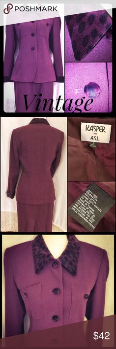 Vintage Burgundy wool Suit w Sassy Trim Gorgeous! Beautiful wool vintage suit by Kasper. The classic vintage appeal of the longer Skirt and jacket, this suit is in beautiful condition! Sassy cuffs, Neckline, and sassy buttons are in a vibrant velour type fabric. The suit is fully lined, and made with a classic fit and Designer Appeal. I hope whoever gets this beautiful vintage piece will enjoy it for years to come! Kasper Dresses