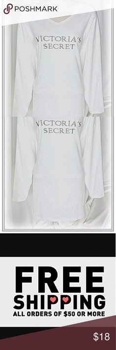 """💃Price Drop💃NWOT Victoria's Secret sleep shirt *  White with Silver Embroidered Logo, V-Neck, Long Sleeve  *  100% Cotton  *  25.5"""" across laying flat from armpit to armpit  *  31.5"""" long from shoulder to hem  *  24"""" sleeve length   Please let me know if you have any questions. Feel free to make an offer! Victoria's Secret Tops"""