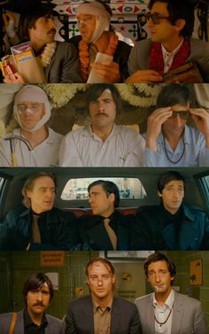 Heroes: Owen Wilson, Adrien Brody, and Jason Schwartzman as Francis, Peter, and Jack Whitman in The Darjeeling Limited