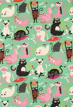 green Alexander Henry animal fabric with colorful cats - Animal Fabric - Fabric - kawaii shop modeS4u