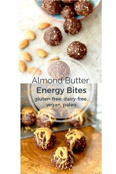 Almond Butter Energy Bites Recipe! Only 7 ingredients and 15 minutes to make! Paleo, gluten-free, dairy-free, date-sweetened & vegan!