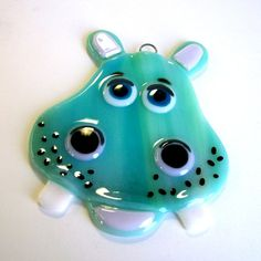 Fused glass hippo