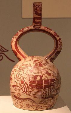 Moche sculptural stirrup spout bottle