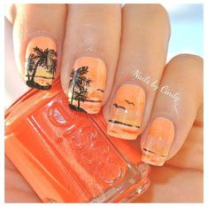 Nagelpflege 130 simple and beautiful nail art designs 2018 just for you Wedding Ideas Fo Pretty Nail Designs, Nail Art Designs, Tree Designs, Nails Design, Beachy Nail Designs, Tropical Nail Designs, Design Art, Trendy Nails, Cute Nails