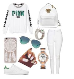 """""""Untitled #261"""" by newyorkgirl2016 ❤ liked on Polyvore featuring Victoria's Secret, adidas, Topshop, Versace, Tiffany & Co. and Cartier"""